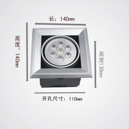 Interior 2800k Warm White Led Grille Spot Light 100lm Aluminum With 60 ° 30 °